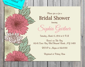 Flower Bridal Shower, Baby shower, Spring Invitation, PROFESSIONALLY PRINTED also available in digital format
