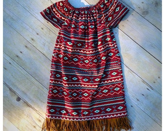 Girls peasant dress, girls clothing, fringe dress, birth announcement, toddler fall dress, baby girl dress, aztec print dress, baby shower
