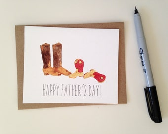 Fathers Day Card // Cowboy Boots Card // Father and Kid Card // Happy Fathers Day Card