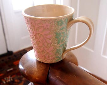 Big Cup/Mug with Big Handle in White with Pink and Green Hand Carving of Flowers with Birds and a Bunny