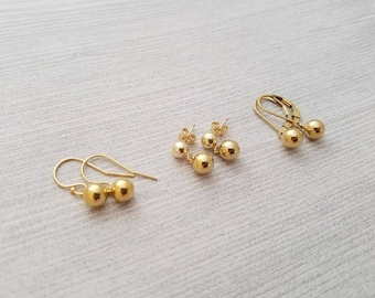 14k yellow gold filled dangle earring, post, french wire, or leverback
