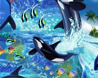 Killer Whales - Custom Made Scrub Tops Nursing Uniforms