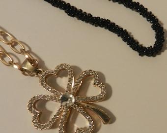 Gold Four Leaf Clover  Necklace V4628