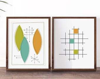 Mid Century Printables, Mid Century Modern Art Set, Mid Century Wall Art,