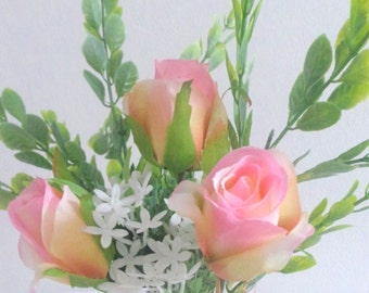 Little taste of summer in a glass - artificial flower display Pink Roses and dainty Daisies