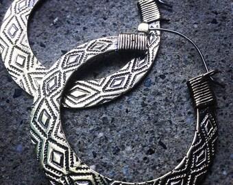 Kaxinawa White Brass earrings ,small Hoop Earrings, Tribal Earrings ,statement Earrings ,ethnic jewelry