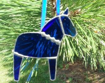 Blue Dala Horse Ornament with Decorative Solder, Swedish Christmas Ornament, Tiffany Stained Glass Horse, Swedish Custom