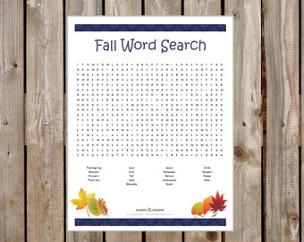 Fall Etiquette Word Search - Manners and Thanksgiving Theme - INSTANT DOWNLOAD PDF -