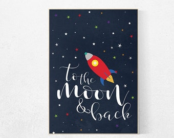 Space themed nursery, to the moon and back, Space nursery decor, outer space nursery, space print, nursery wall art, rocket ship decor