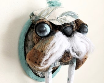 Lil Swanky Evander Walrus Faux Taxidermy | blue | nursery | art | wall art | baby |baby shower | mounted head | stuffed animal