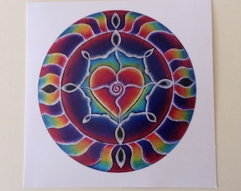 Expanding Heart Mandala Sticker  Original Prismacolor Pencil Illuminated Drawing