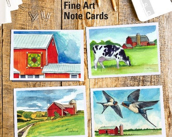 Red Barn Watercolor Art Note Card Set of 4 by James Steeno Americana Greeting Cards Thank You Blank Inside All Occassion Cards