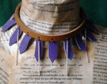 Blue and tan ~ leather and chains ~ necklace choker