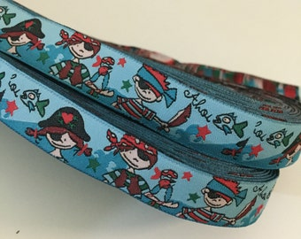 Kid Pirates  - Woven Jacquard Ribbon - 1.5cm  x 1 meters (JR-079)