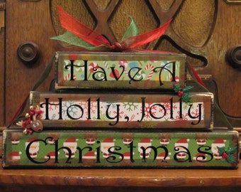 Christmas Sign Word Blocks - Have a Holly, Jolly Christmas