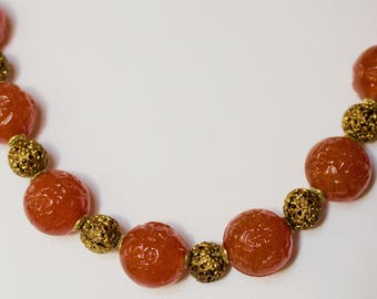 Vintage Carved Genuine 14 MM round Orange Carnelian With Brass Beads Necklace.