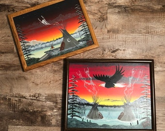 Beautiful Set of 2 Vintage Native American Arcylic Paintings by Sioux Artist J. Dogg