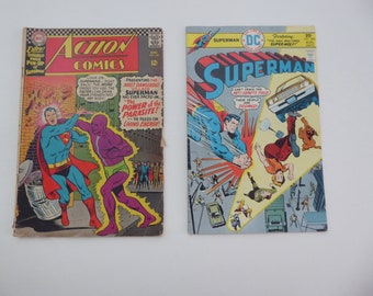 Set of 2 Classic Superman comics,  DC,  Action Comics, vintage, 1966, 1975, free shipping