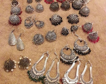 A beautiful lot of german silver earrings for sale....indulge yourself or your shop in it!