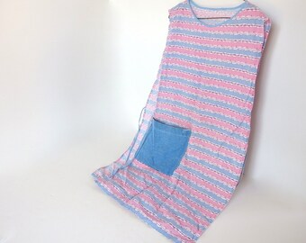 Vintage Pink and Blue Full Smock Apron, Modern Size 12 to 26