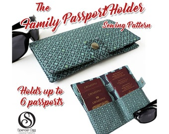 US Family Passport wallet PDF pattern. 6 Passport cover pattern. Family Passport holder pattern