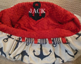 Navy and Red Anchor Shopping Cart Cover/nautical anchor cart cover/toddler shopping cart cover/warehouse cart cover/grocery cart cover