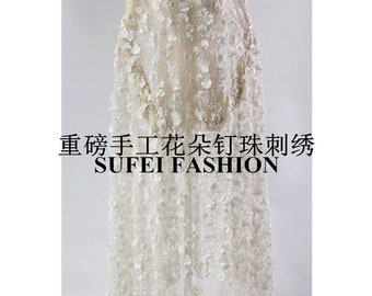 """Extravagant High-end Embroidery Heavy Beads Bridal Fishtail Wedding Dress Mesh Lace Fabric 51.1"""" Wide/Yard"""