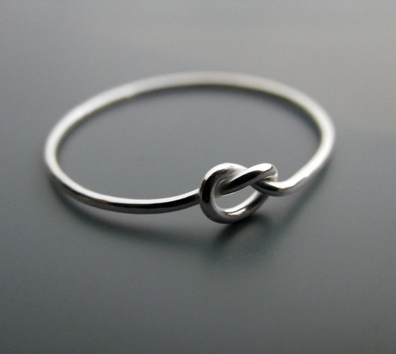 simple knot ring thin recycled sterling silver promise ring. Black Bedroom Furniture Sets. Home Design Ideas