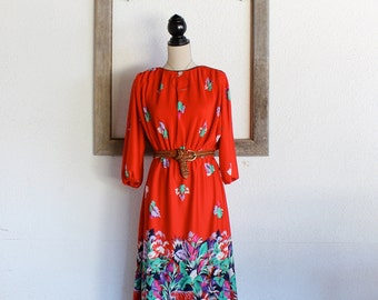 1970s Red Dress/ 70s Vintage Red Secretary Dress/Red Bloom Dress