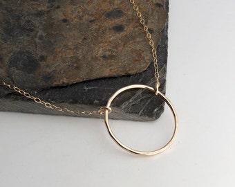 Medium Karma Gold Eternity Necklace, 25mm Minimalist Jewelry, Circle Necklace, Handmade Necklace, Gold Necklace, Bridesmaid, Gold Karma