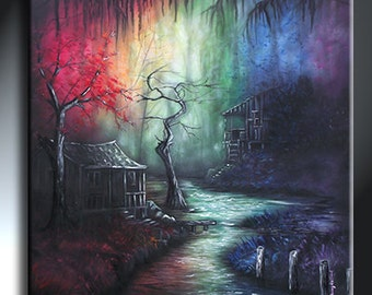 Louisiana Bayou Swamp Painting Rainbow Artwork Original Painting Size 36 X 36 Dark Shack Painting