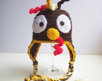 0-3 months - handmade crochet turkey hat