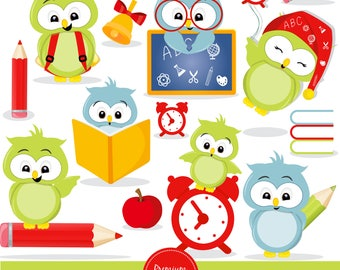 Back to school owl clipart, Owl clipart, school clipart, school owls clipart, digital clipart commercial use - CA457