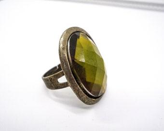 Vintage Crystal Ring, Vintage Rings, Crystal Rings, Vintage Jewelry, Vintage Gifts, Gift for Her, Vintage Gift for Mom, Adjustable Ring