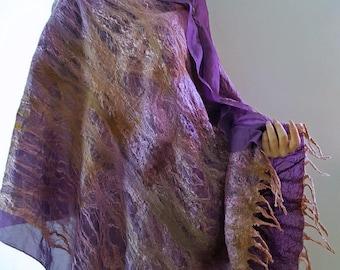 Nuno Felted Cloac, Nuno Felted Shawl, Felted Silk Cape, Felted Wrap, Handmade Silk Shawl, Silk Tunic, Merino Wool, Violet, With brooch