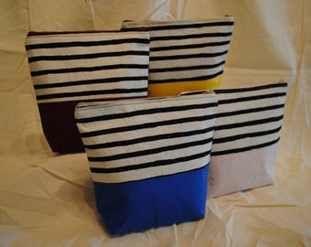 Two Tone Makeup Bag - Stripes and Solids