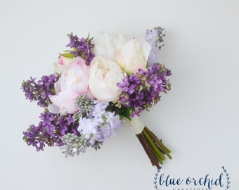 Wedding Bouquet - Lilac Bouquet, Peony Bouquet, Lavender, Silk Flowers, Silk Flower Bouquet, Silk Lilacs, Floral Arrangement, Peonies, Lilac