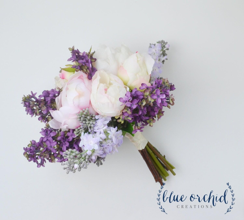 Wedding Bouquet Lilac Bouquet Peony Bouquet Lavender Silk