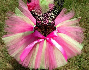 Pink and Green TuTu with matching headband