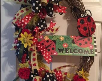 Ladybug Wreath, Ladybug grapevine wreath, Summer Grapevine Wreath