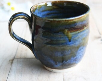 Ceramic Mug in Deep Olive Green, Brown and Blue 14oz. Handmade Pottery Coffee Cup Ready to Ship Made in USA