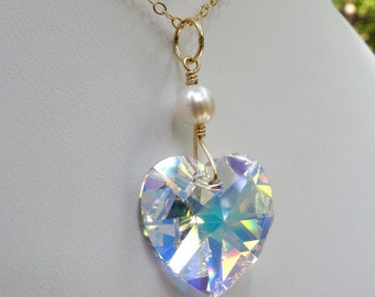 Crystal Heart Necklace, Gold Filled, Swarovski Heart Pendant, Clear Crystal Mothers Day Gift, For Mom, Handmade Wedding Jewelry