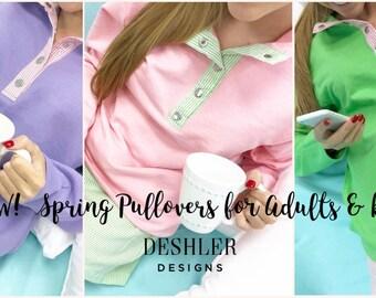 Spring Monogram Pullover, Monogram Seersucker pullover, Preppy pullover, Spring pullover, Pink pullover, purple pullover, green pullover