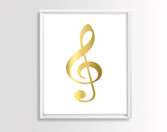 Gold Wall Prints , Music Art, Instant Download Printable Art, Gold Foil Art