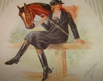 Nice Vintage/Antique Friedrich Kaskeline Postcard Girl & Horse #1