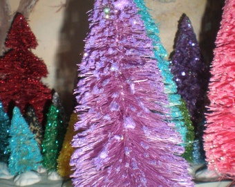 6 inch tall lilac purple bottle brush tree