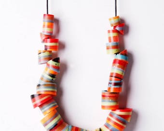 Tube bead resin necklace, striped multicolor