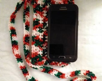 Christmas crochet cross body cell phone pouch red, green, white