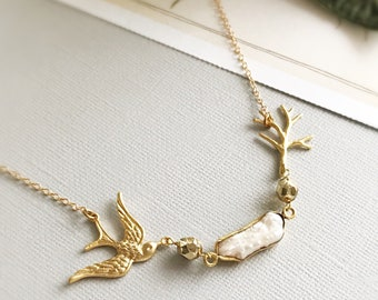 pearl necklace bird necklace gold swallow necklace minimalist jewelry spring jewelry dainty necklace mothers day gift for her PEARLY SKIES