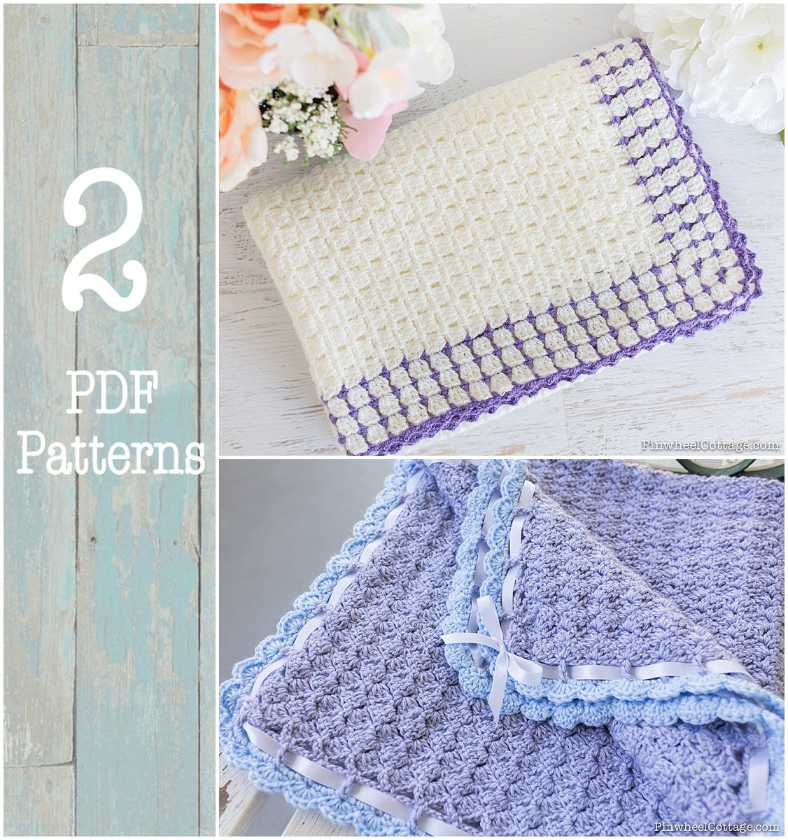 2 Crochet Patterns - Crochet Baby Blankets Pattern, Crochet Afghan ...